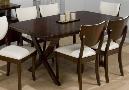 433-72 Satin Rectangle Dining Table with Removable Extension Leaf and X-Stretcher Base in
