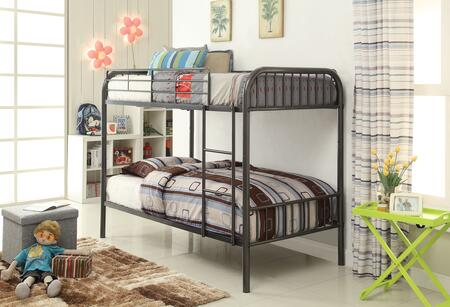 Bristol Collection 37535 Twin Over Twin Size Bunk Bed with Right Facing Front Ladder  Easy-Access Guardrail  Slat System Included and Metal Tube Frame in
