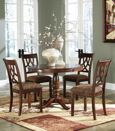 Leahlyn Collection 5-Piece Dining Room Set with Round Dining Table and 4 Side Chairs in Medium