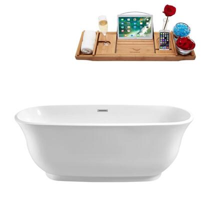 N66059FSWHFM 59 inch  Soaking Freestanding Tub with Internal Drain  Chrome Color Drain Assembly  172 Gallons Water Capacity  and Acrylic/Fiberglass Construction  in