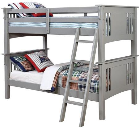Spring Creek Collection CM-BK602T-GY-BED Twin Size Bunk Bed with Angled Ladder  10 PC Slats Top/Bottom  Solid Wood and Wood Veneer Construction in Grey