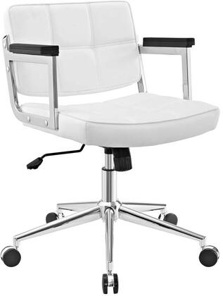 Portray Collection EEI-2686-WHI Office Chair with Adjustable Height  Swivel Seat  Five Dual-Wheel Nylon Casters  Chrome Aluminum Frame and Vinyl Upholstery in