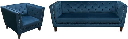 Grand GRANDSCBU Tufted Back Sofa & Chair 2PC Set with Nail Head Accent in Blue