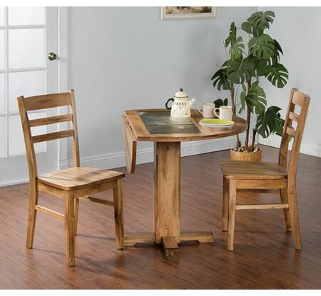 Sedona Collection 1223RODT2C 3-Piece Dining Room Set with Drop Leaf Table and 2 Chairs in Rustic Oak