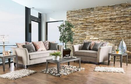 Chantal Collection SM2663-SL 2-Piece Living Room Set with Stationary Sofa and Loveseat in Light Gray with Warm Color
