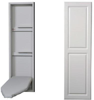"""NE42RWU 15"""" Ironing Center with  Storage Shelves  Garment Bar  Full Length Piano Hinge and Hot Iron Storage: Raised White"""
