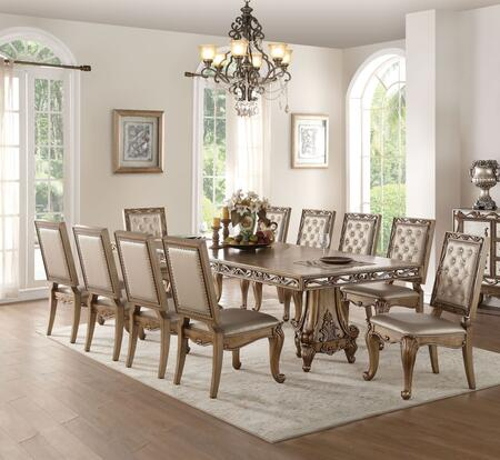 Orianne Collection 63790T10C 11 PC Dining Room Set with Rectangular Shaped Extendable Dining Table and 10 Champagne PU Leather Upholstered Side Chairs in