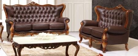 995ESPRESSOS2SET Traditional 2 Piece Livingroom Set  Sofa and Loveseat in Espresso with Natural Walnut