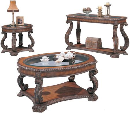 Doyle 3892CES 3 PC Living Room Table Set with Coffee Table + End Table + Sofa Table in Brown