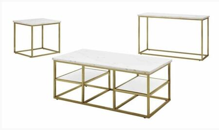 Home Accents Collection 720418SET 3 PC Living Room Table Sets with Coffee Table + End Table + Sofa Table in White and Brushed Brass
