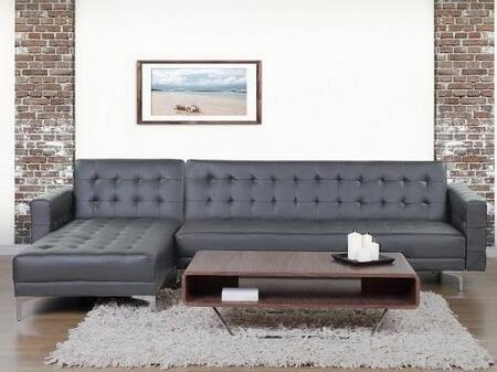 LN-304-LG 111 inch  2-Piece Sectional Sofa Bed with High Quality Eco-leather Seating and Extra Thick Cushioning in Light