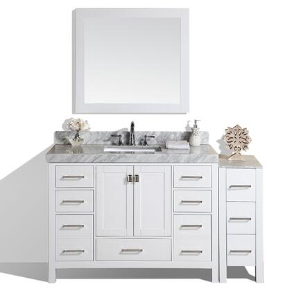 PVN-MALIBU-48-12-WH-UND-M 60 inch  Malibu White Single Modern Bathroom Vanity With Side Cabinet  White Marble Top With Undermount Sink And