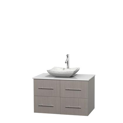 Wcvw00936sgowsgs3mxx 36 In. Single Bathroom Vanity In Gray Oak  White Man-made Stone Countertop  Avalon White Carrera Marble Sink  And No