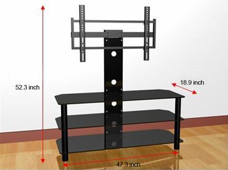 GTVS-FT032B 3 Shelf Glass TV Stand For TV's Up To 50