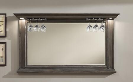 100842GLA Riviera Series Mirror with Glass Stemware Holders  Beveled Edge Mirror and Impressive Backlighting: