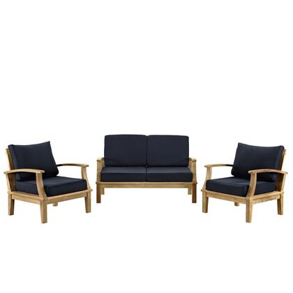 EEI-1470-NAT-NAV-SET Marina 3 Piece Outdoor Patio Teak Sofa Set with Two Chairs  Water/UV Resistant Cushions  Machine Washable Covers  Textured Wood Graining