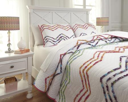 Lacentera Q769001T 2-Piece Twin Size Quilt Set includes 1 Quilt and 1 Standard Sham  Machine Washable with Zig Zag Design Cotton Material in Multi