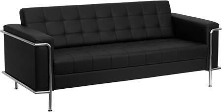 ZB-LESLEY-8090-SOFA-BK-GG HERCULES Lesley Series Contemporary Black Leather Sofa with Encasing