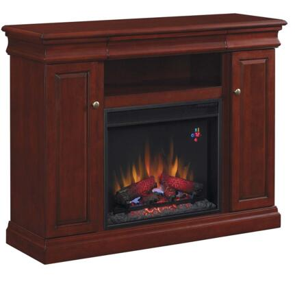 23MM9643-X331 Louie 23 inch  Media Cabinet Fireplace with 2 Door Side Storage  3-Way Adjustable Concealed Euro Hinges  Brass Door Pulls and Adjustable Wood Shelves