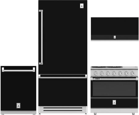 4-Piece Black Kitchen Package with 36