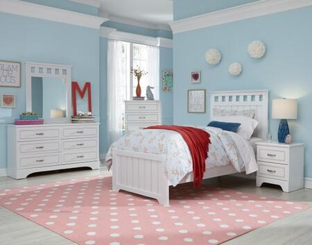 Claire Collection 67056370SET 5 PC Bedroom Set with Twin Size Bed + Dresser + Mirror + Chest + Nightstand in White