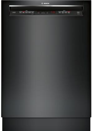 "Bosch 300 Series 24"" Recessed Handle Dishwasher with Stainless Steel Tub Black SHEM63W56N"
