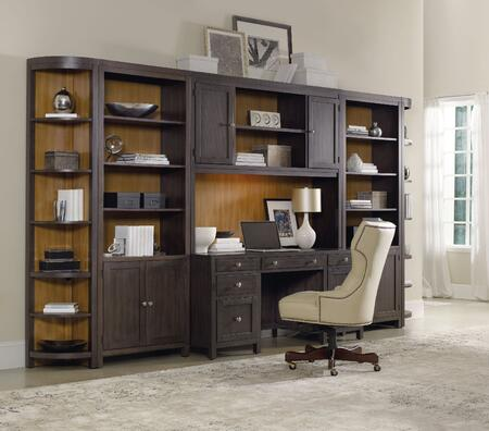South Park 5078-1047PCSET 7-Piece Home Office Set with Computer Credenza  Hutch  2x Corner Units  2x Bookcase and Swivel Chair in Brownish