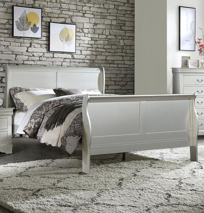 Louis Philippe III Collection 26700Q Queen Size Sleigh Bed with Low Profile Footboard  Sleigh Headboard  Gum Wood Veneer and Solid Pine Wood Construction in