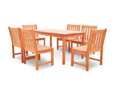 V98SET47 Malibu Eco-friendly 7-piece Outdoor Hardwood Dining Set with Rectangle Table and Armless