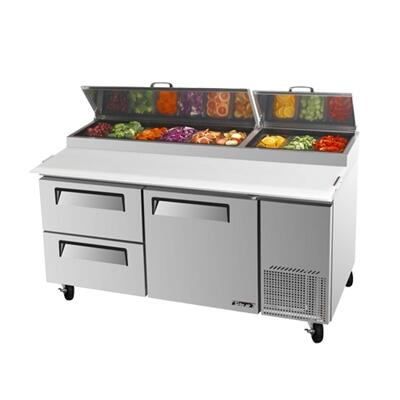 TPR67SDD2 20 cu.ft Pizza Prep Table with 1 Door  2 Drawers  Extra Deep cutting Board  Stainless Shelving  Excellent Cooling System and Stainless Steel Cabinet