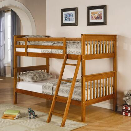 Parker Collection 460233 Twin Over Twin Bunk Bed with Guard Rails  Ladder and Solid Pine Wood Construction in Light Honey