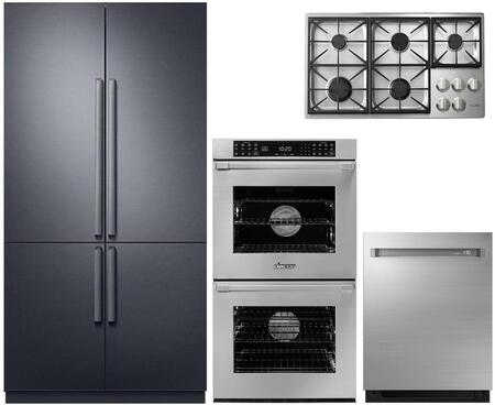 4-Piece Stainless Steel Kitchen Package with DRF427500AP 42 inch  French Door Refrigerator  DYCT365GSNGH 36 inch  Natural Gas Cooktop  RNWO227PS 27 inch  Double Wall Oven