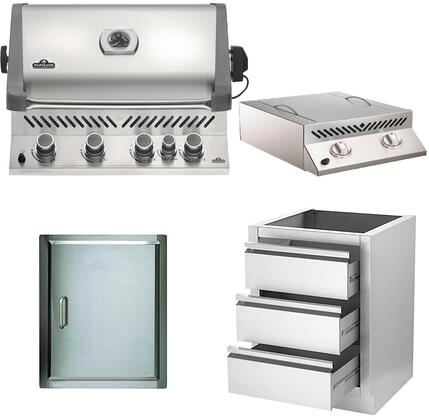 4-Piece Stainless Steel Outdoor Kitchen Package with BIP500RBPSS1 31 inch  Liquid Propane Grill  BISZ300PFT 20 inch  Side Burner  N3700071 13 inch  Single Access Door  and