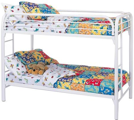 Fordham Collection 2256W Twin Over Twin Bunk Bed with Built-In Ladders  Full Length Guard Rails and Two Inch Metal Tubing Construction in White