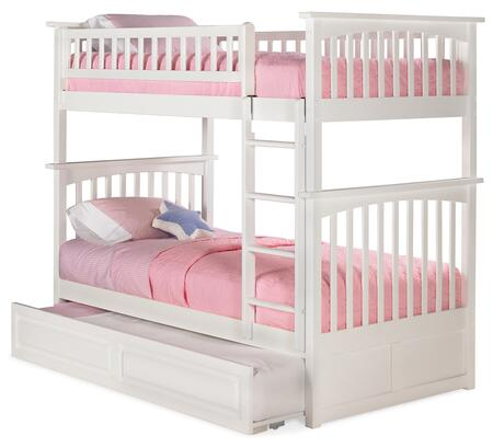 AB55132 Columbia Bunk Bed Twin over Twin with Raised Panel Trundle Bed in