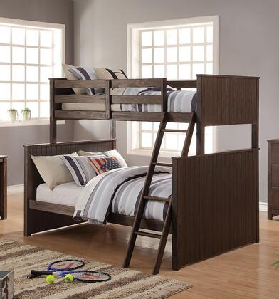 Hector Collection 38020 Twin Over Full Size Bunk Bed with Easy Access Guard-Rail  Right Facing Ladder  New Zealand Pine Wood and Ash Veneer Materials in