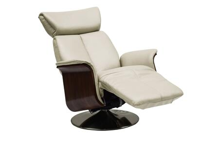 RL1451WHT Ella Recliner Armchair  Brown Leather  Power Relax Function With Headreast Function. Brushed Metal Swivel
