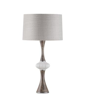 1010856 Observation Table Lamp White Gloss in Caribbean Walnut  White Gloss