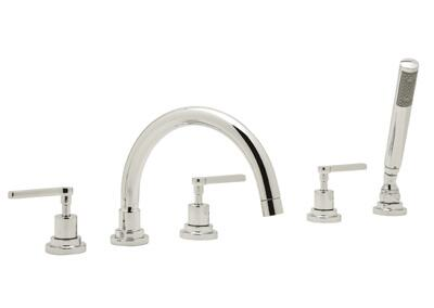 A2214xmstn Modern Bath Collection Lombardia 5-hole Deck Mount Bath Mixer With C Spout And Cross Handles: Satin