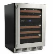 VDZW24 Vintage Wine Cooler with 46 Bottle Capacity  Black body sides  Seamless welded door construction  Stainless steel glass door with Pro-style tubular