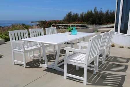 V1334SET15 Bradley Outdoor 7-Piece Wood Patio Dining Set With Extension Table In