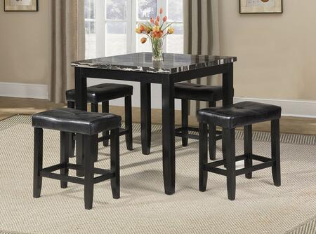 Blythe Collection 71095 5 PC Counter Height Set with 4 Stools  Square Top Table  Faux Marble Top  Faux Leather Upholstered Seat and Wood Construction in Black
