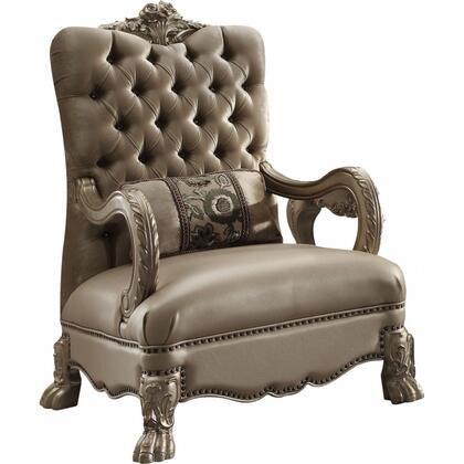 Dresden Collection 52092 34 inch  Accent Chair with Toss Pillow  Nail Head Trim  Claw Legs  Scrolled Crown Trim  Crystal-Like Tufted Back and Velvet Fabric
