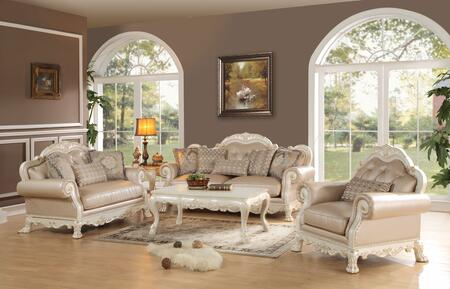 Dresden 53260SLCT 5 PC Living Room Set with Sofa + Loveseat + Chair + Coffee Table + End Table in Antique White