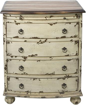 DS-D115001 Two Tone Drawer Chest with Contrasting Wood Top  Carved Bun Feet and Antiqued Brass Finished Hardware in Distressed