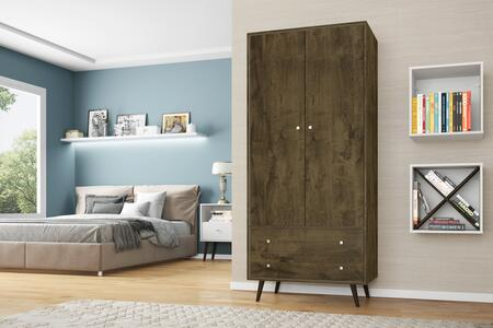 "207BMC9 Liberty 31.89"" Mid Century- Modern Armoire with 2 Drawers  1 Shelf  and Hanging Rod in Rustic"