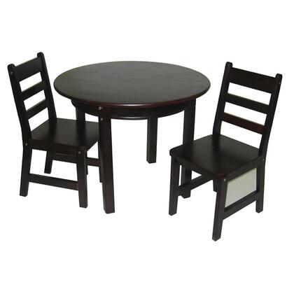 524E Lipper Child's Round Table with Shelf and 2 Chairs in Espresso