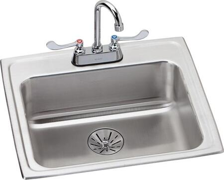 Lustertone LRAD221965PDC 22 inch  Single Bowl Top Mount ADA Sink + Faucet Kit with Perfect Drain in Stainless