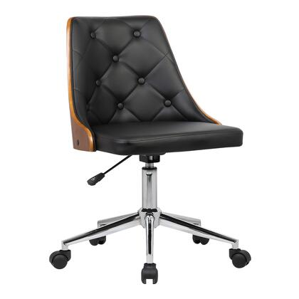 Diamond Collection LCDIOFCHBLACK Mid-Century Office Chair in Chrome finish with Tufted Black Faux Leather and Walnut Veneer