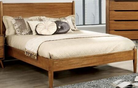Lennart Collection CM7386A-CK-BED California King Size Panel Bed with Mid-Century Style  Tapered Legs  Wooden Headboard and Wood Veneer Construction in Oak